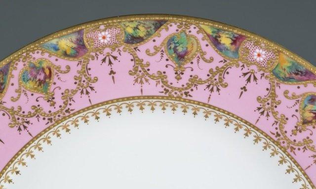 10 Pink, gold, and enamel Copeland jeweled plates. - 2