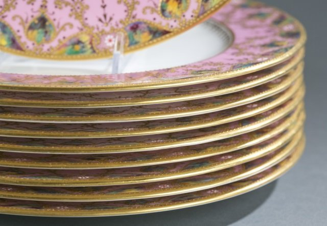 10 Pink, gold, and enamel Copeland jeweled plates. - 3