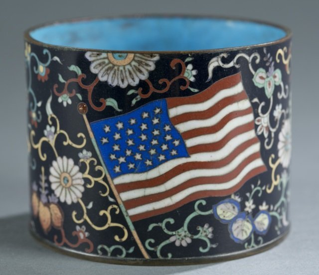 Japanese cloisonne jar w/American flags.