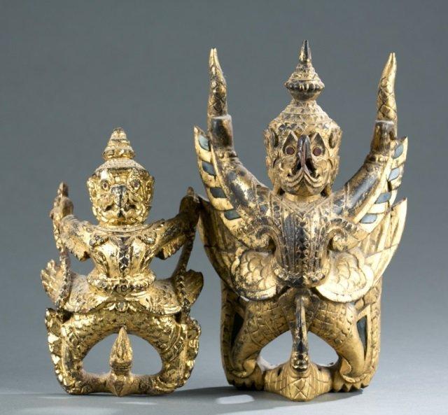 Group of 2 Garuda figures.