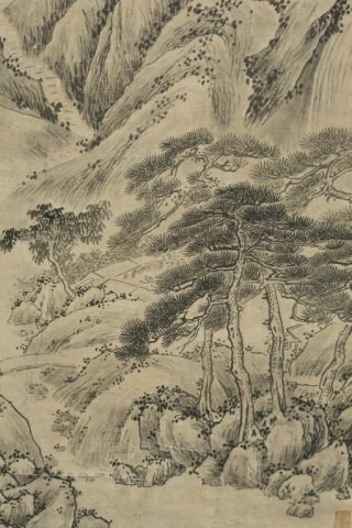 Chinese landscape scroll painting. - 3
