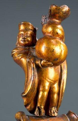 Chinese gilt wood figure of merchant on elephant. - 2