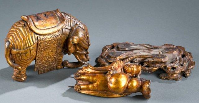 Chinese gilt wood figure of merchant on elephant. - 7