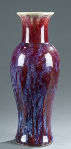 Chinese red and blue flame glazed vase.
