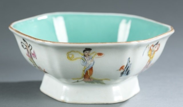 Chinese hexagonal famille rose footed bowl.