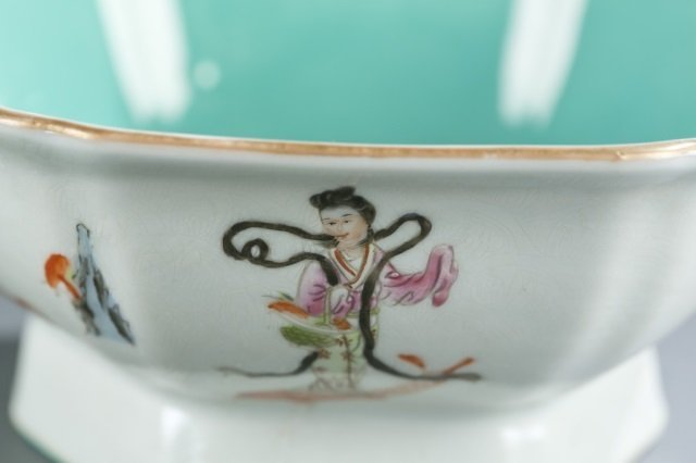 Chinese hexagonal famille rose footed bowl. - 2