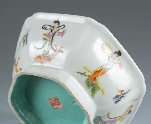 Chinese hexagonal famille rose footed bowl. - 7