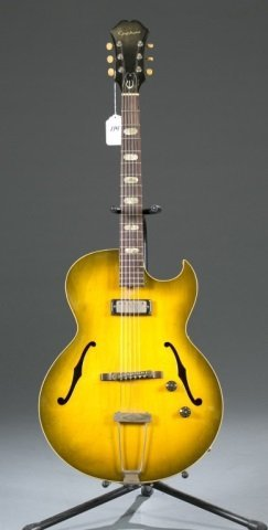 An Epiphone Sorrento hollow body electric guitar,