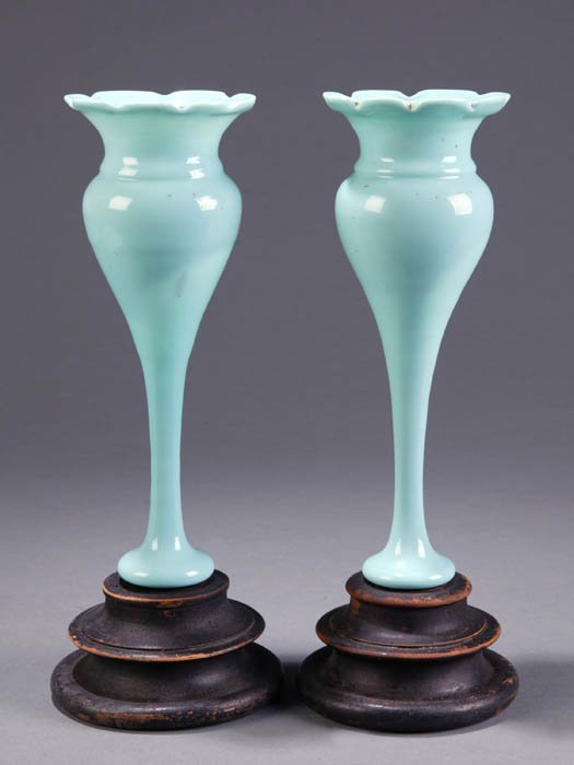 2: Pair of blue milk glass trumpet shaped vases