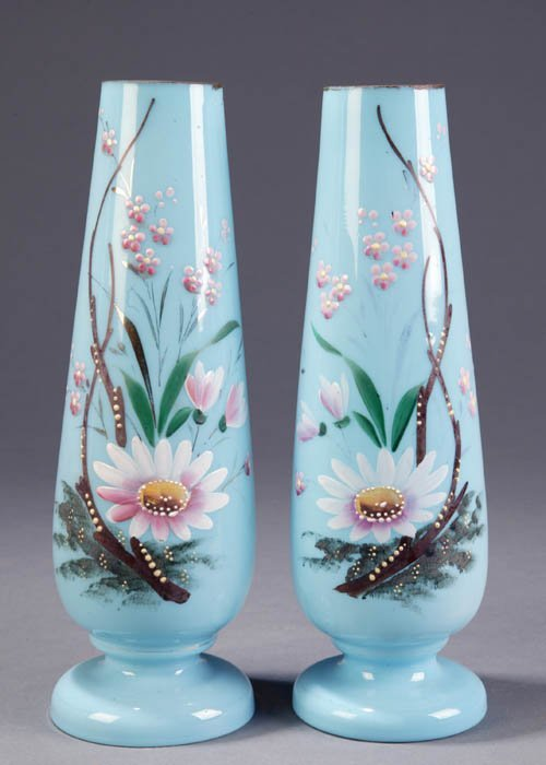 3: Pair of hand-painted blue milk glass vases