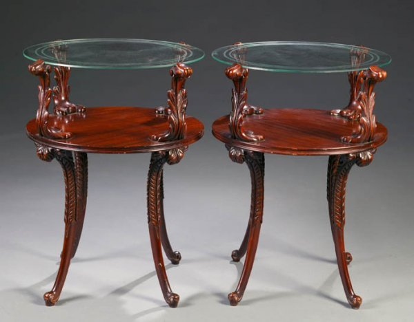 14: Pair of mahogany side tables