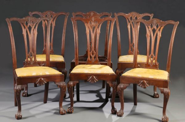 18: Set of 6 Chippendale style mahogany dining chairs