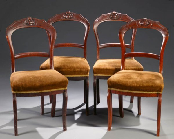 19: Set of 4 Empire mahogany side chairs