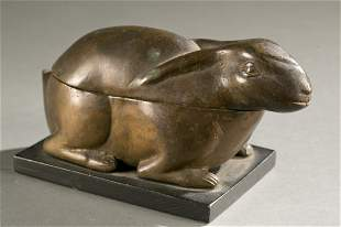 West African rabbit shaped lidded bowl.