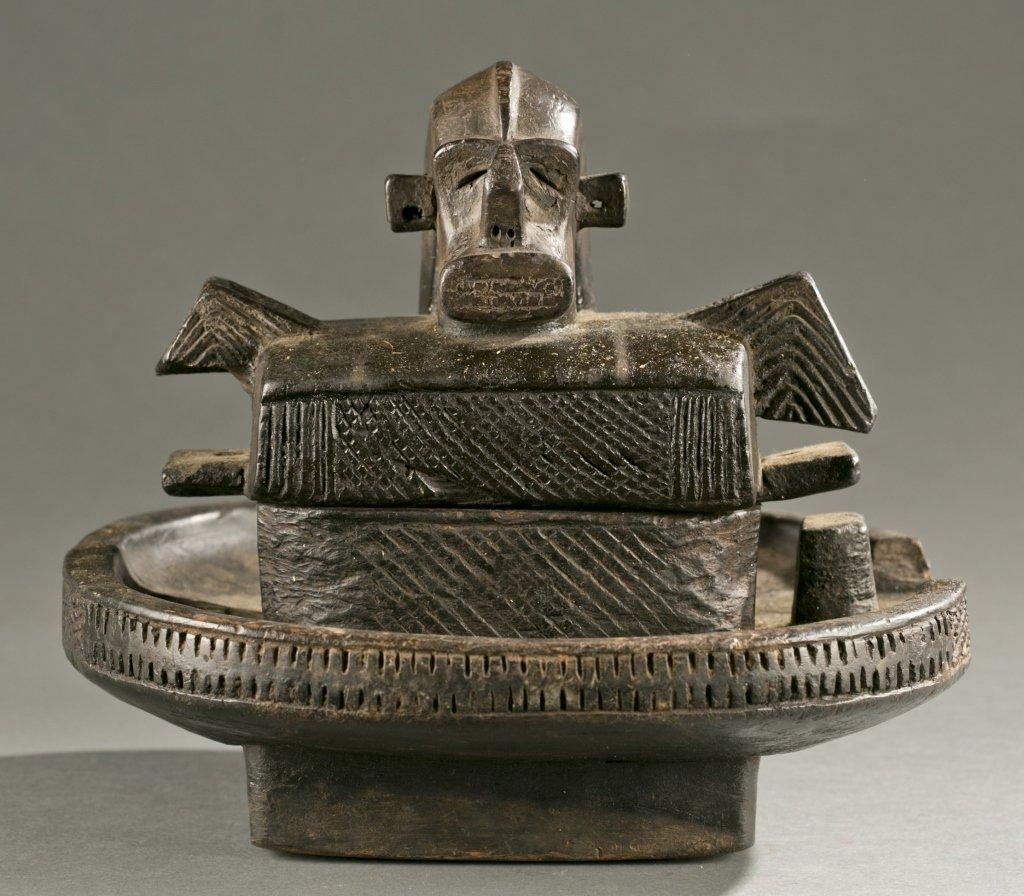 Igbo lidded divination bowl, 20th cen.