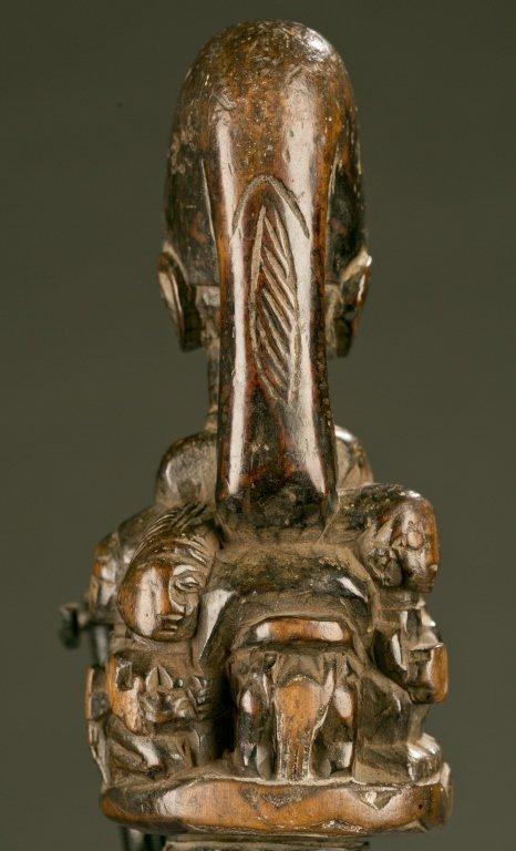 Yoruba flywhisk with equestrian figure. - 4