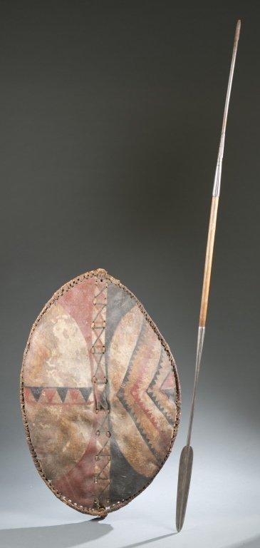 Maasai hide shield & spear. 20th century.