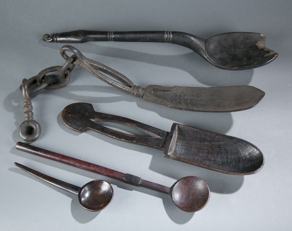 Group of four African spoons / ladles.