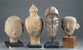 A group four stone / ceramic items.