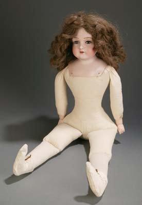 """1412: Kestner bisque porcelain head doll, replaced 26"""""""