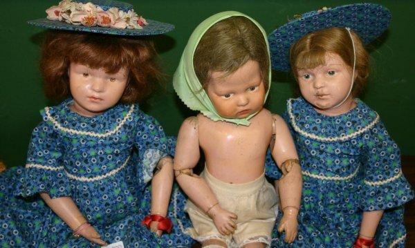 1405: Lot of 3 all wood Shoenhut composition dolls