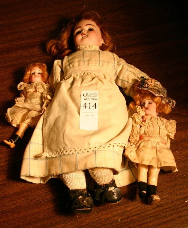 1414: Lot of 3 bisque dolls
