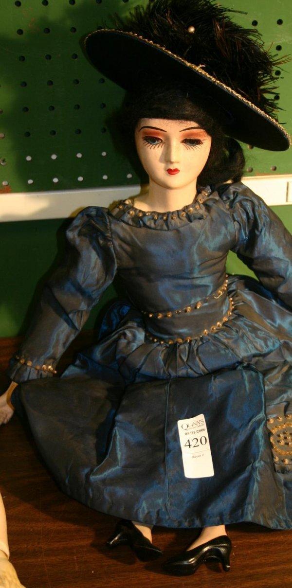 1420: Composition Boudoir doll on cloth body in ori