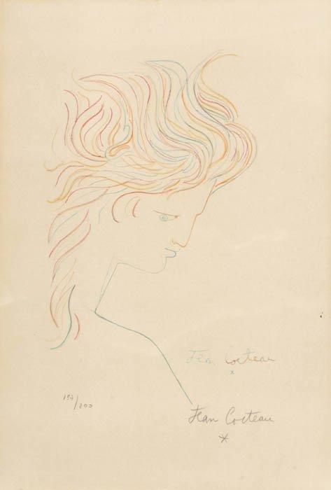 23: Cocteau, Jean. (Fr. 1889-1963). [Head With Br