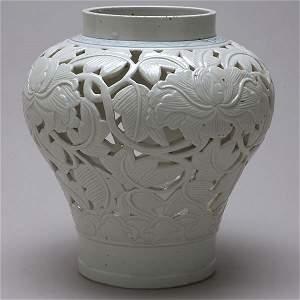 366: Korean Reticulated Porcelain Vase 18th/19th C.