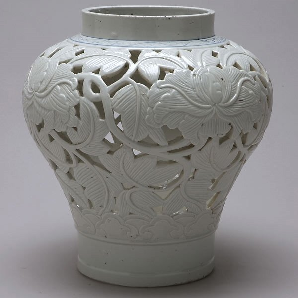366: Korean Reticulated Porcelain Vase 18th/19th C.