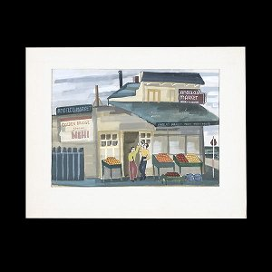 724: WPA MODERN ART UNSIGNED COOL GOUACHE PAINTING