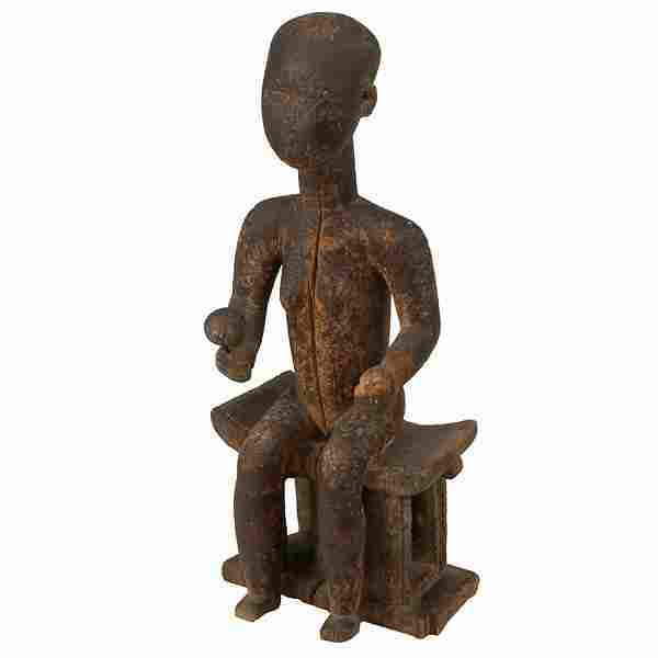 AFRICAN ART AKAN ASHANTI FIGURE ON STOOL OLD