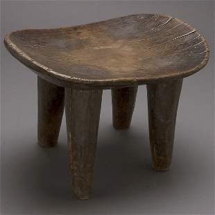 AFRICAN ART SENUFO STOOL 4 LEGS FINE OLD PATINA