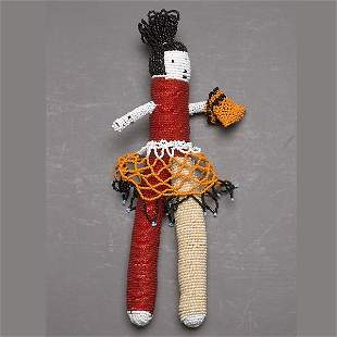 SOUTH AFRICAN ART CAPETOWN BEADED DOLL W/PURSE