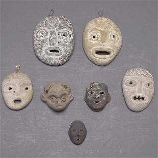 7 CLAY AND STONE MASKETTES PRE-COLUMBIAN STYLE