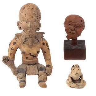 3 MEXICAN CLAY FIGURES IN PRE-COLUMBIAN STYLE