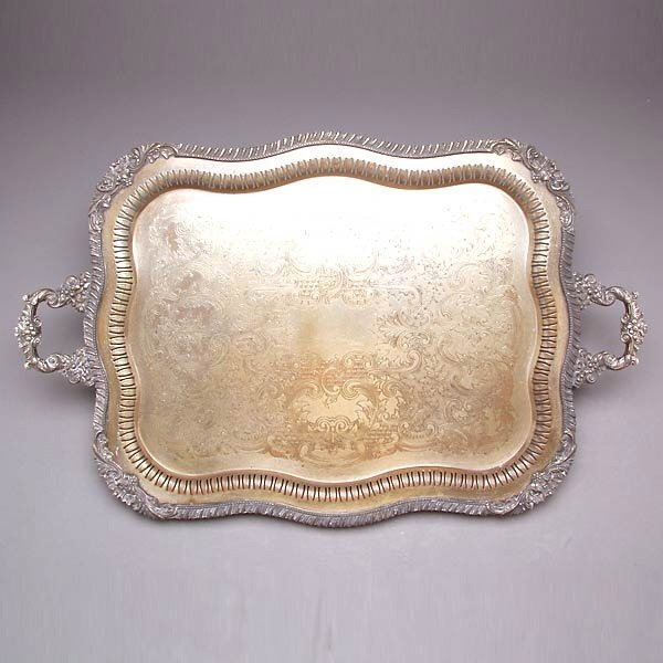 1007: Two Handled I.S. Plated Tea Tray
