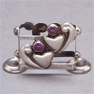 Mexican Amethyst Sterling Heart Match Box