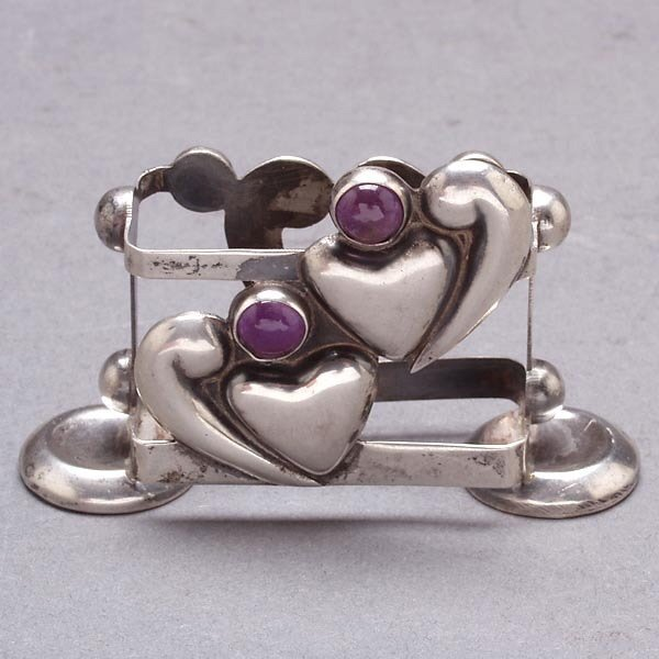 1015: Mexican Amethyst Sterling Heart Match Box