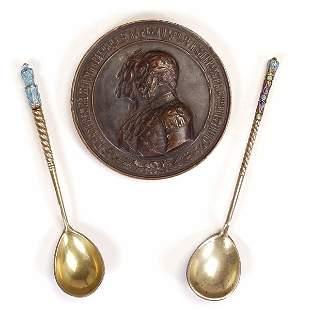 2 Russ Enamel & Gilt Spns w/Comm. Bronze Medallio