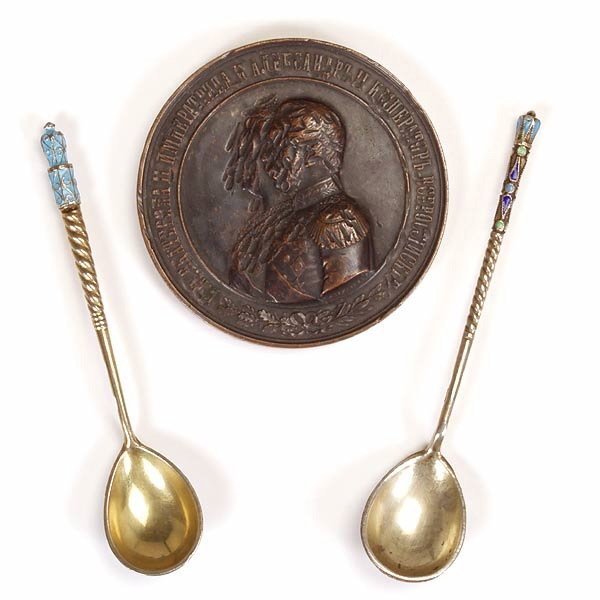 1016: 2 Russ Enamel & Gilt Spns w/Comm. Bronze Medallio