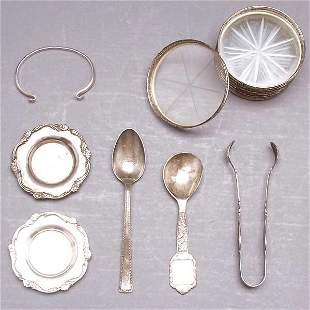 8 Sterling Glass Coasters,Bracelet & Misc Flatwar