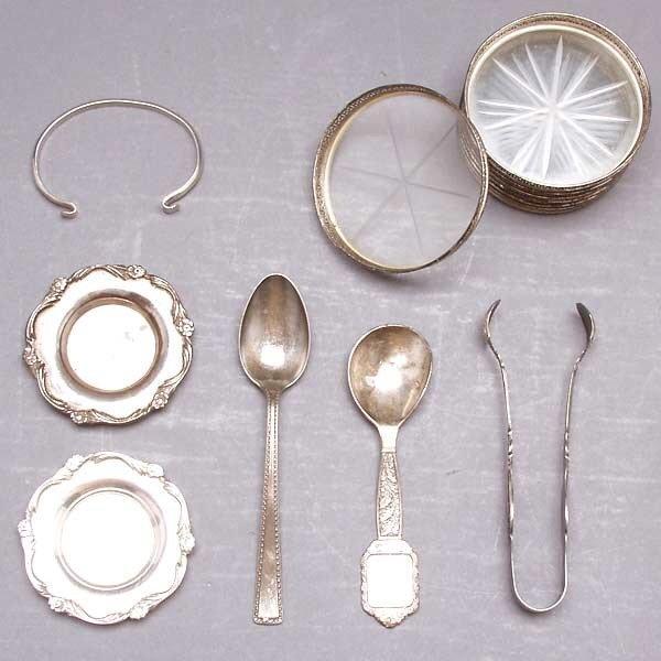 1023: 8 Sterling Glass Coasters,Bracelet & Misc Flatwar