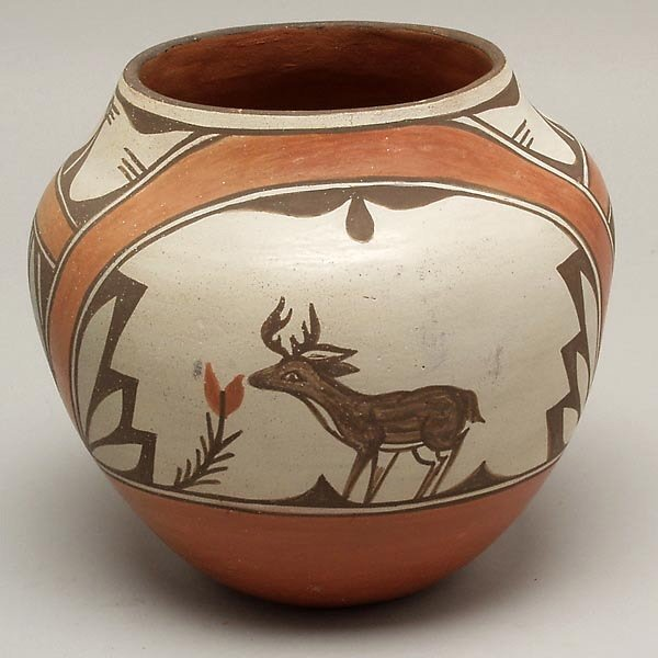 20: VINTAGE ZIA PUEBLO INDIAN POTTERY BOWL