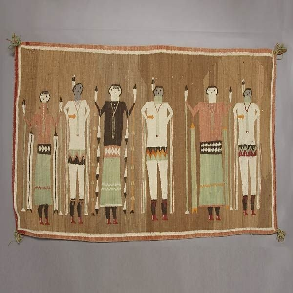 25: GREAT NAVAJO YEI RUG 6 FIGURES IN NATIVE DRESS