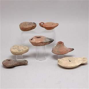 Seven Ancient Mediterranean Clay Oil Lamps