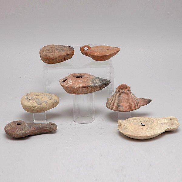 304: Seven Ancient Mediterranean Clay Oil Lamps