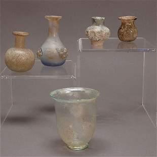 4 Roman Glass & A Lustre Glazed Ceramic Vases