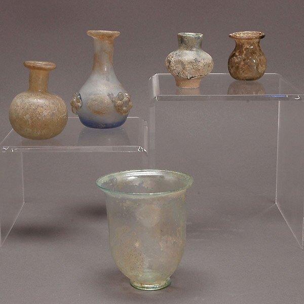 307: 4 Roman Glass & A Lustre Glazed Ceramic Vases