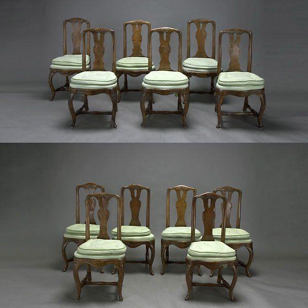 Twelve Dutch Walnut Side Chairs